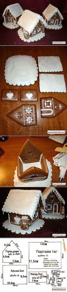 Diy Crafts - VK is the largest European social network with more than 100 million active users. Gingerbread House Patterns, Christmas Gingerbread House, Gingerbread Cake, Christmas Candy, Christmas Desserts, Christmas Treats, Christmas Baking, Gingerbread Houses, Cute Cookies