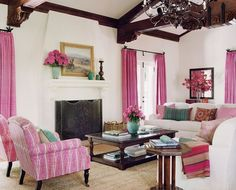 love the beams and white walls with the pink curtains