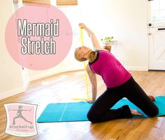 Mermaid Stretch - A Favorite! Great Pregnancy Stretch, helps open up those tight hip flexors & also your psoas. Also love this stretch for runners as many runners have tight hips. #PrenatalFitness by Erica Ziel of Knocked Up Fitness