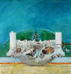 """graham sutherland - """"U Shaped Form with Blue Sky"""" Your Paintings, Landscape Paintings, Sky Art, Shape And Form, Art Uk, Art Object, National Museum, Cool Artwork, Graham"""