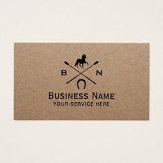 Equine Horseback Riding Equestrian Rustic Kraft Business Card - monogram gifts unique custom diy personalize
