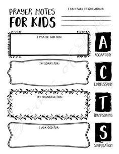 Prayer Notes for Kids. PDF printable. Instant download.  Boys, girls, youth, teens. Worksheet journa