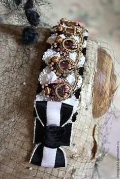 Купить Браслет R15002 - комбинированный, розовый, белый, черный, чёрно-белый, браслет, ручная вышивка