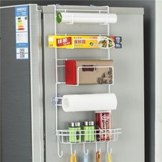 [$3.98] Multi-layer Fridge Storage Rack Side Shelf Sidewall Holder Multi-function Kitchen Organizer Household, Size: 25 x 9.5 x 62cm