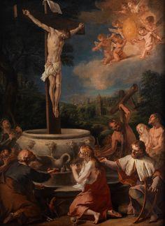 KREUZIGUNG CHRISTI IN BIBLISCHEM UMFELD Öl auf Leinwand. 127 x 95 cm. Die Zuschreibung an den genannten Maler ist äußerst wage, das Gemälde ist jedoch von...