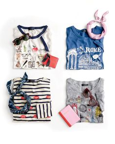 J.Crew presents with major personali-tee. J.Crew women's T-shirts: stripes plus kisses, the Colosseum and even a jaunty little dachshund…