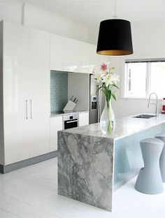 duck egg blue splashback, grey marble.