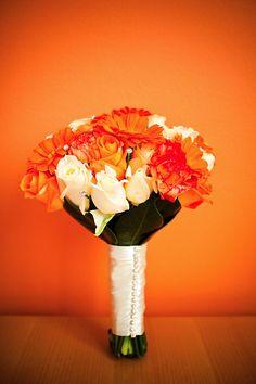 Bright orange #wedding #bouquet... Wedding ideas for brides, grooms, parents & planners ... https://itunes.apple.com/us/app/the-gold-wedding-planner/id498112599?ls=1=8  ... The Gold Wedding Planner iPhone App.