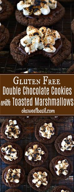 Indulge in these #GlutenFree Chocolate Marshmallow Cookies; fudgy chocolate cookies with melted chocolate and gooey, toasted marshmallows on top. Try to keep your hands off these! via @ohsweetbasil