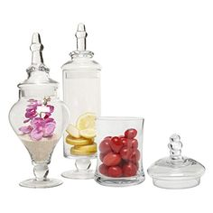 MyGift Designer Clear Glass Apothecary Jars Piece Set) Decorative Weddings Candy Buffet: Home & Garden: Glass Apothecary Jars, Glass Jars, Clear Glass, Candy Bar Wedding, Wedding Gifts, Candy For Sale, Jar Storage, Candy Buffet, Hand Blown Glass