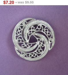 ON SALE! Gerry's Circle Brooch, Vintage Silver Tone Openwork Pin