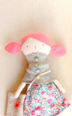 PIPPI Dress Up Rag Doll Fabric Cloth Soft Doll by MiniwerkaToys