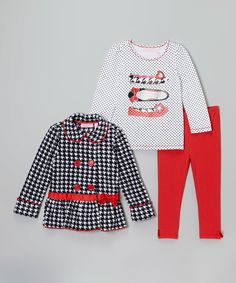 Kids Headquarters Black & Red Houndstooth Peacoat Set - Infant, Toddler & Girls | zulily