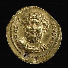 ROMAN MONEY 1ST-3RD CE Gold aureus with facing portrait of Postumus (260-269), who led a revolt against Emperor Gallienus and ruled over Britain, Gaul and Spain but never acchieved total control. CM 1864.11-28.141 British Museum, London, Great Britain