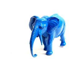 Blue Elephant Repurposed Elephant Toy Upcycled Royal by bellonart, $15.00