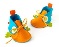 Newborn baby shoes for boys & girls  turquoise orange by LaLaShoes, $44.00