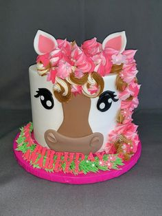 Cowgirl Birthday Cakes, Cowgirl Cakes, 8th Birthday Cake, Animal Birthday Cakes, Horse Birthday Parties, Custom Birthday Cakes, Horse Cupcake, Horse Party, Themed Cakes