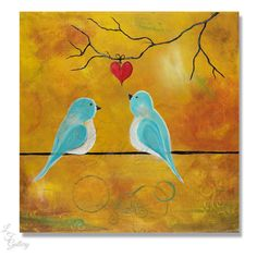 Original Painting Love Birds Painting Bird by LindaFehlenGallery / LF Gallery