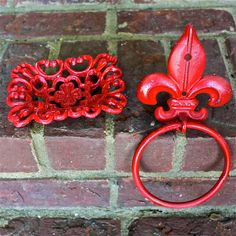 Hand Towel Ring /Red Fleur de lis /Distressed by AquaXpressions,