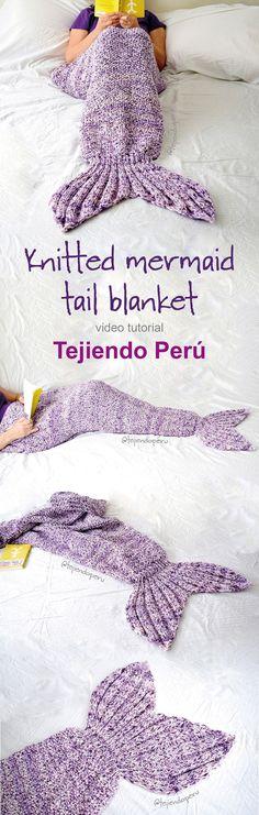 Mermaid tail knitted blanket: english subtitles video tutorial! #mermaidtail