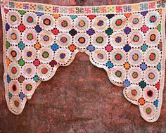 Vintage toran curtain crochet Indian temple door by Faerymother