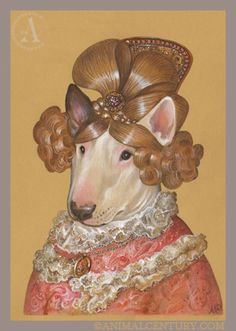Portrait of Bull Terrier in Chic Wig, Lady Dogs  Fancy Dogs of Animal Century