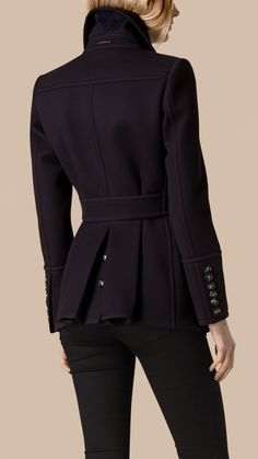 Pleat Detail Double-Breasted Wool Jacket Navy | Burberry
