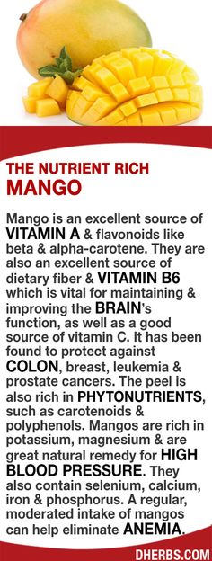 Mango is an excellent source of Vitamin A, flavonoids, dietary fiber & vitamin B6 which maintains & improves brain function. May help protect against colon, breast, leukemia & prostate cancers. The peel is rich in phytonutrients like carotenoids & polyphenols. The fruit is rich in potassium, magnesium & great for high blood pressure. Selenium, calcium, iron regularly can help eliminate anemia. #dherbs