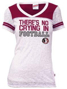 Flaunt your favorite college team spirit in this T-Shirt that features short sleeves, V-neck and a screenprint on the front that reads, ''There's no Crying in Football''. Solid construction that never goes out of style along with the FSU football team spirit. GO NOLES!