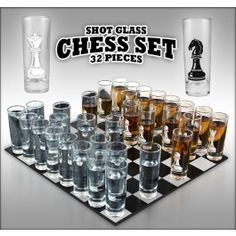 New in BOX, Shot Glass Chess! Box shows light damage on the corners, does not affect chess set. Glass Chess Set, Chess Sets, Shot Glasses Display, Fun Drinking Games, Shot Glass Set, Chess Players, Geek Gadgets, Display Case, Really Cool Stuff