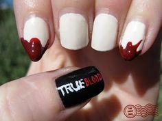 True Blood Nails (idk if i would ever do this but it's pretty cool and i love true blood! Crazy Nail Art, Crazy Nails, Cute Nails, Pretty Nails, Hair And Nails, My Nails, Blood Nails, The Beauty Department, Daily Nail