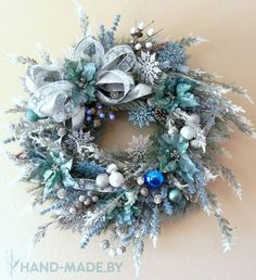 baby blue wreath - cool take for Christmas and can be left up for more time 'winter wreath! Turquoise Christmas, Silver Christmas, Noel Christmas, Christmas Ornaments, Christmas Photos, Christmas Mantles, Red Ornaments, Christmas Villages, Victorian Christmas