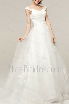 Satin V-neck Chapel Train A-line Wedding Dress with Embroidered - Alice Bridal