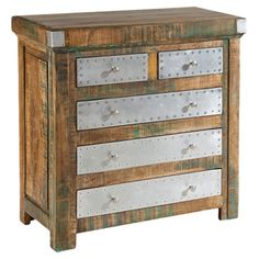 """Hammersmith Chest. Distressed, Reclaimed Wood. Riveted Metal Fronts. 5-Drawers. 36"""" H x 36"""" W x 18"""" D"""