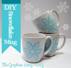 The Graphics Fairy - DIY: DIY - Painted Snowflake Mugs - Repurposed