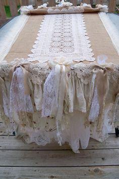 Long burlap runner or table cloth shabby chic white creams fabrics laces farmhouse wedding or home decor by Anita Spero