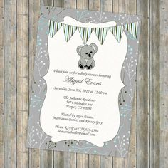 koala bear baby shower invitation with banner, shower invitation, digital, printable file (any colors) on Etsy, $13.00