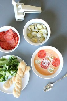 Soup of the Day: Pizza Soup - delia creates Pasta Recipes, New Recipes, Pizza Soup, Cream Soup, Love Pizza, Tomato Paste, Tasty, Ethnic Recipes