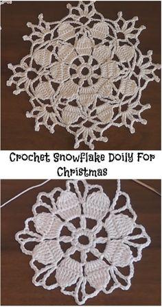 Crochet Snowflake Doily For Christmas - Crochet Braids Crochet Snowflake Pattern, Crochet Snowflakes, Doily Patterns, Crochet Squares, Crochet Motif, Crochet Designs, Crochet Doilies, Crochet Flowers, Free Crochet