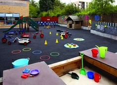 This is a outdoor playing area in a nursery. this area is for different ages to give  protection and a safe environment for all.