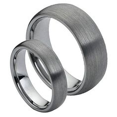 His & Her's 8MM/6MM Tungsten Carbide Classic Domed With Brushed Finish Wedding Band Ring Set, Men's, Size: Ladies Size 12 - Mens Size 12, cobalt