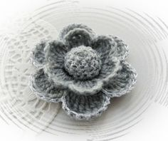 HAND CROCHET BROOCH APPLIQUE GREY SILVER FLOWER   in Crafts, Crocheting & Knitting, Other Crocheting & Knitting | eBay