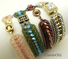 Free Duo Chevron Bead Bracelet Pattern by Carole Ohl at Sova-Enterprises.com