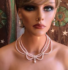 Complet de mariage ensemble de bijoux en Blush rose par AlexiBridal