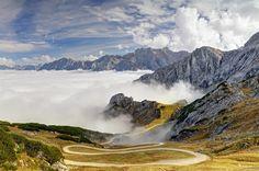 #Baviera, #Alpes, #pendientes, #montañas, #picos, #carretera, #nubes, #Alemania, #árboles, #cielo