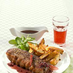 Steak mit Rotweinsauce (2g KH p. P.)