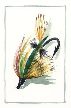 Jake Marshall watercolor. Fishing lure.