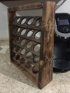 Rustic K-Cup Coffee Holder Stand by GrandLetters on Etsy https://www.etsy.com/listing/266083587/rustic-k-cup-coffee-holder-stand