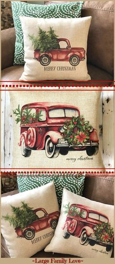Red pickup truck or old vintage car Christmas pillow to match your vintage or farmhouse Christmas decor. I love this elegant watercolor art for my 14x14x16x16 inch pillows!