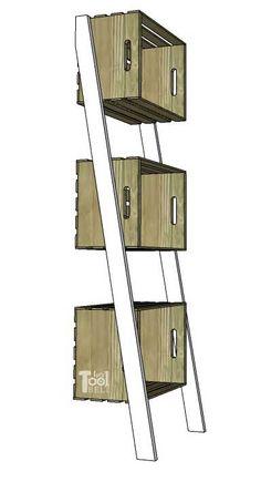 Leaning Crate Ladder Bookshelf and Desk - Her Tool Belt Ladder Shelf Decor, Ladder Display, Ladder Bookshelf, Diy Ladder, Wooden Ladder, Bookshelves, Wooden Crates, Crate Shelves, Desk Shelves